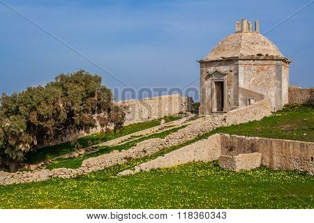 Ruins of the Casa da Agua (Water House), an 18th century fountain and reservoir built for the pilgrims of the Nossa Senhora do Cabo Sanctuary. Espichel Cape, Sesimbra, Portugal. poster