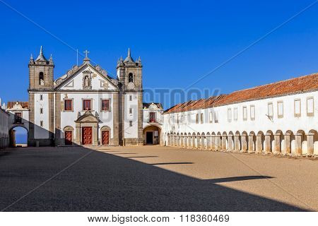 Baroque Sanctuary of Nossa Senhora do Cabo in Espichel Cape. View of the Church, and the Pilgrim lodgings. Sesimbra, Portugal