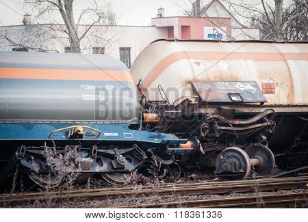 Derailed Train In Poland