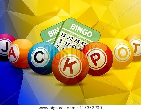 Bingo Balls And Cards Over Geometric Background