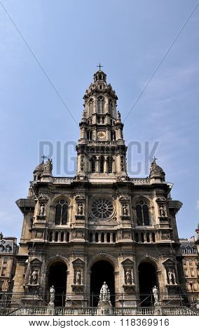 Facade Of Sainte Trinite Church In Paris. France