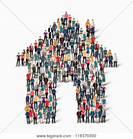 group of people  form  house