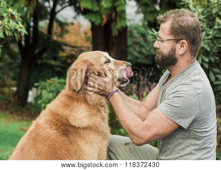 Golden retriever dog and man
