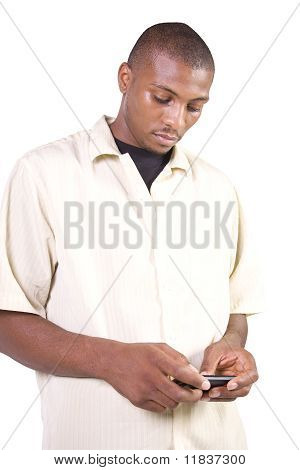 Casual Black Man Texting On His Cell Phone