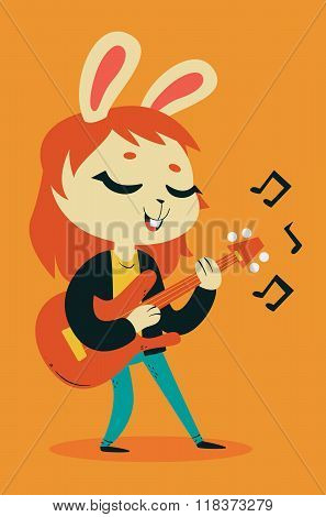 Cute Bunny Girl Playing Guitar