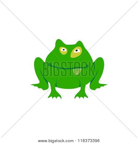 Green Toad Simple Cartoon Illustration. Freaky Frog Logo.