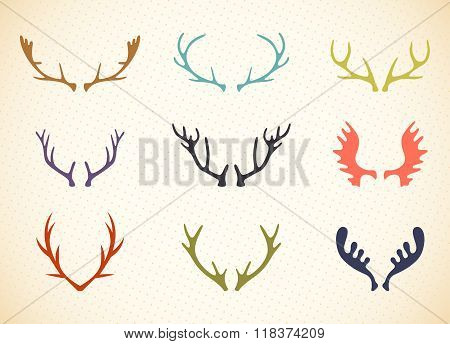 Reindeer Antlers Illustration in Vector.