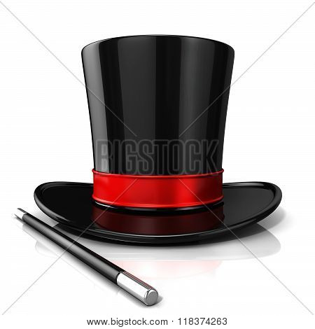 Magic hat and wand 3D render isolated on white background. Front view
