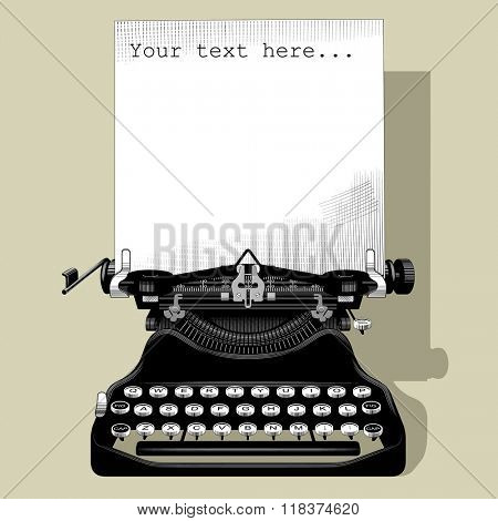 Drawing of old typewriter with a paper in black and white vintage engraving style. Vector illustration