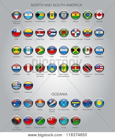Set of round glossy flags of all sovereign countries of North and South America continents and Oceania with captions in alphabet order.  Vector illustration