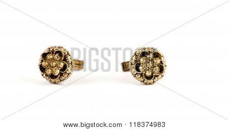 Isolated Golden Flower Cufflinks