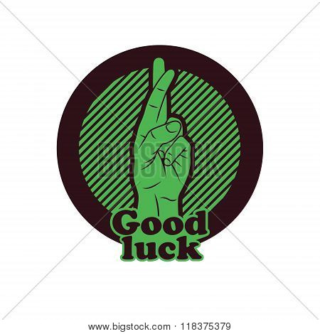 Fingers Crossed Sign. Crossed Hand Sign gesturing for Good luck and Fortune. Vector Illustration. poster