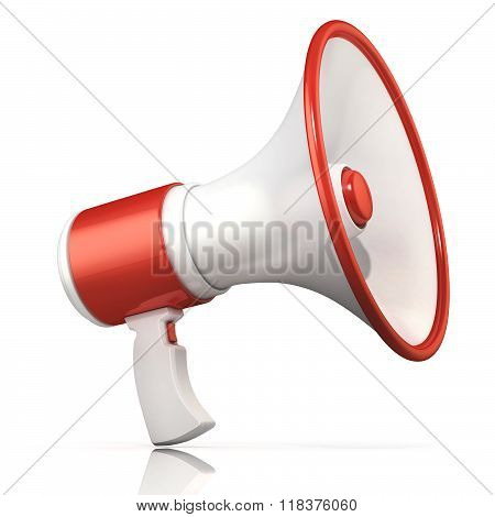 Red and white megaphone 3D