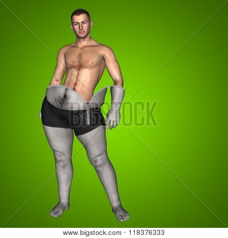 Concept or conceptual 3D fat overweight vs slim fit diet muscles zipper young man green gradient background poster