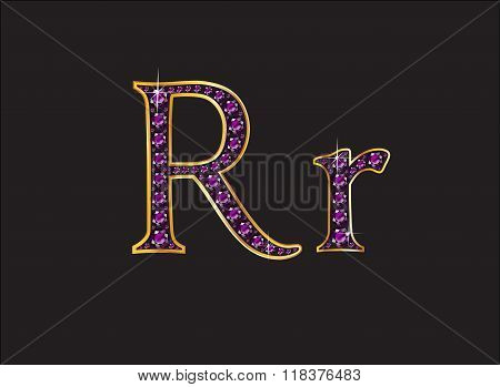 Rr Amethyst Jeweled Font With Gold Channels