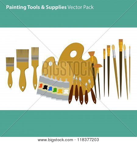 Art Supplies And Tools Vector Pack. Painting Tools Set. Materials For Painting.