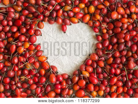 Dogrose Berries In The Form Of Heart On Cotton Fabric