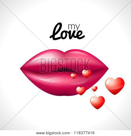 Kiss lips Valentine background with hearts love