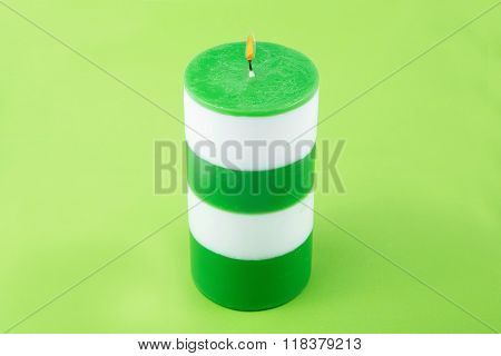 White And Green Striped Cylindrical Handmade Candle