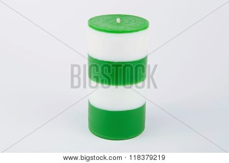 White And Green Striped Handmade Candle