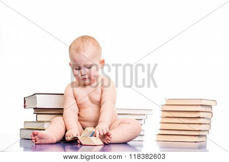 little girl reading books
