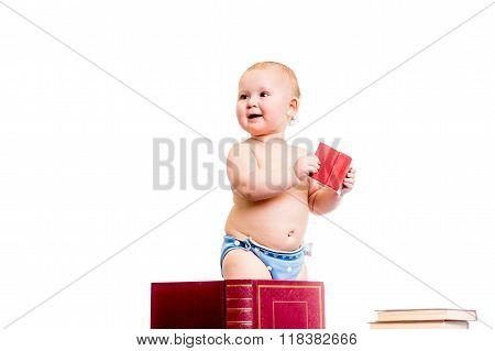 little girl reading books