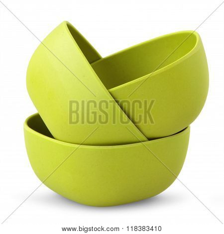 green bowls from organic plastic isolated on white backgriund