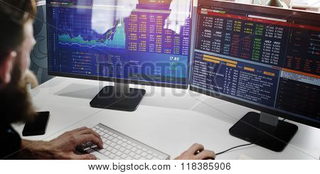 Businessman Working Finance Trading Stock Concept