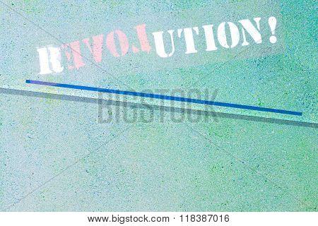 Revolution - Love Graffiti Logo On Textured Wall
