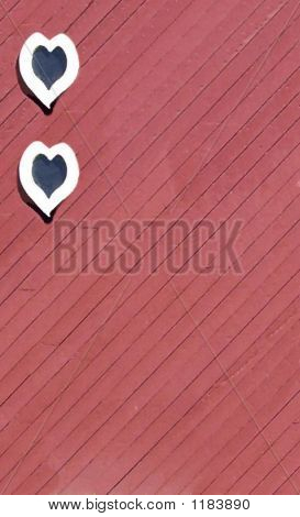 Two Hearts On Red Barn Door