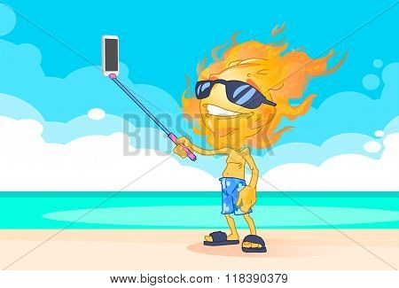 Sun Summer Boy Fire Head Taking Selfie Smart Phone Stick On Beach
