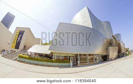 Fisheye lens photo of Walt Disney Concert Hall.