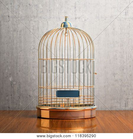 Empty bird golden cage on the table