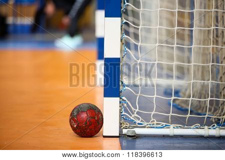 Handball Ball Next To The Goalpost Prior To The Greek Women Cup Final Handball Game Arta Vs Nea Ioni
