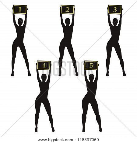 Silhouette Boxing Ring Girls Holding Sign. Different Body Types.