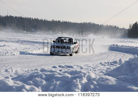 Tahko, Finland - February 23, 2010: A Racing Car Bmw In Motion At The Winter Rally In Tahko, Finland