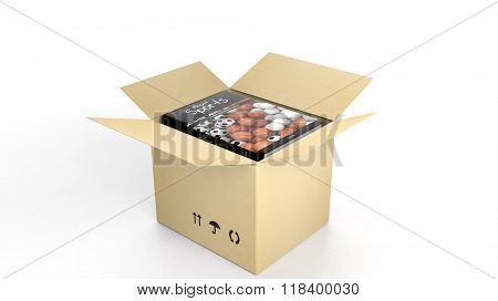 Book on Sports with illustrated cover inside an open cardboard box, on white background.