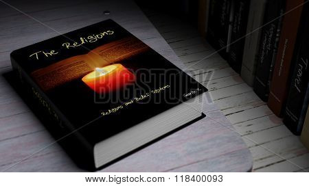 Hardcover book on The Religions with illustration on cover, on wooden surface.