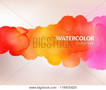 Watercolor colorful background. Vector illustration. Water, wet paper. Blobs, stain, paints blot. Co