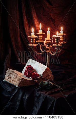 Gothic still life with skull