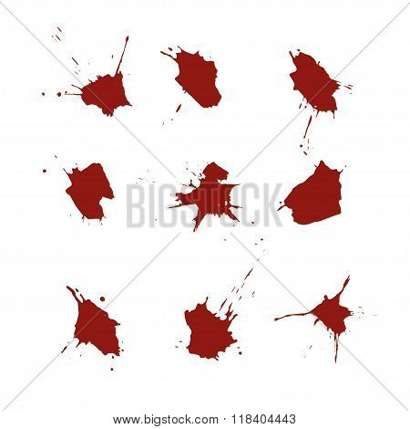 Vector Set Of Blood Spots On White Background