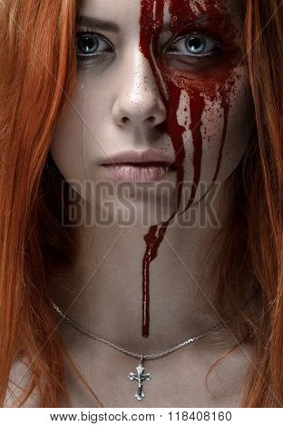 Girl With Red Hair, Bloody Face, A Chain With A Cross, Blue Eyes, Vampire, Murderer, Psycho, Hallowe