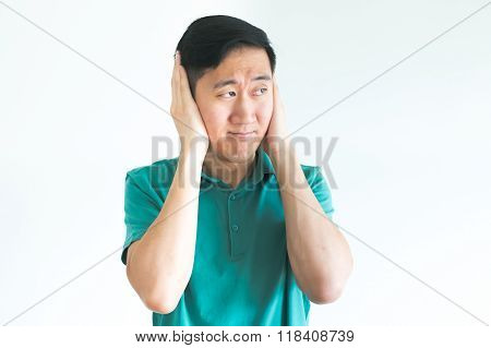 Stressed Man Covering His Ears And Do Not Want To Hear, Noise Too Loud