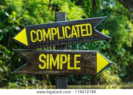 Complicated - Simple signpost with forest background