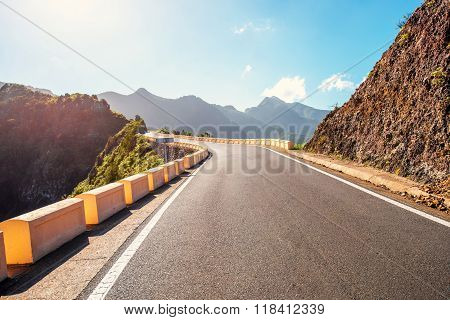 Road in natural park Anaga on Tenerife island