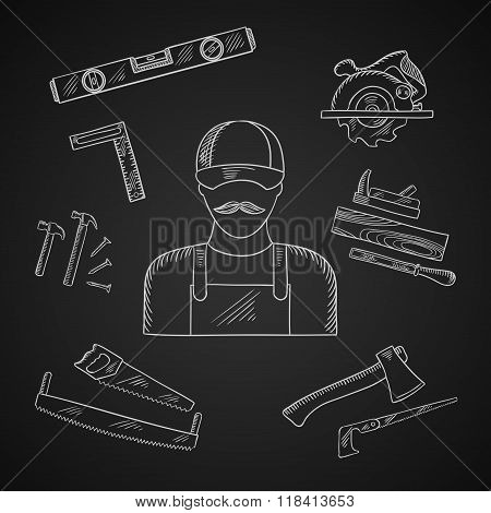 Carpenter and toolbox tools icons