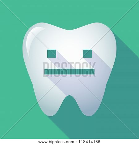 Long Shadow Tooth Icon With A Emotionless Text Face
