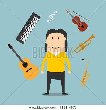 Musician and musical instruments icons