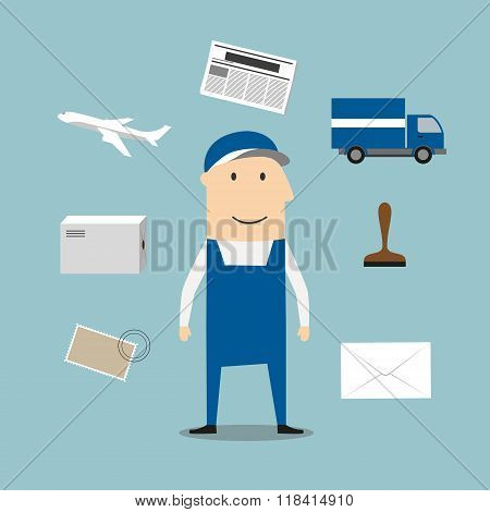 Postman profession and delivery icons
