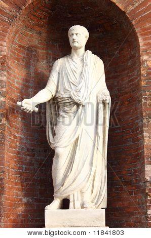 Roman emperor statue with located in Quirinale Square, Rome (Italy) poster